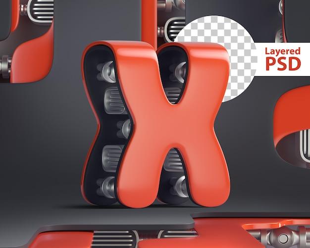 3d letter x in futuristic cyber style