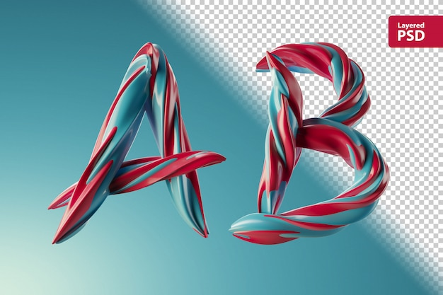3d letters a b made of two color swirls