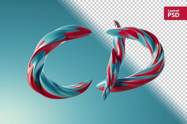두 가지 색 소용돌이로 만든 3d 편지 cd