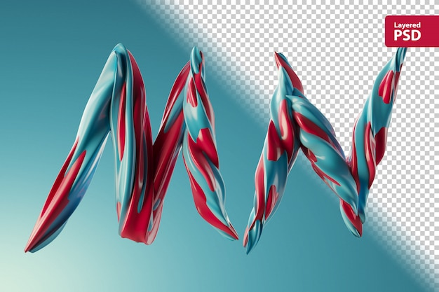 3d letters m n made of two color swirls