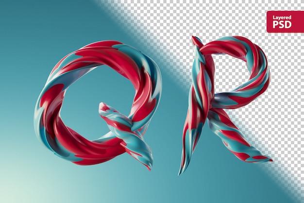 3d буквы qr из двух цветных завитков