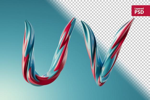 3d буквы уф из двух цветных завитков