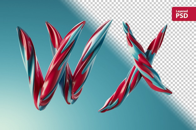 3d letters w x made of two color swirls