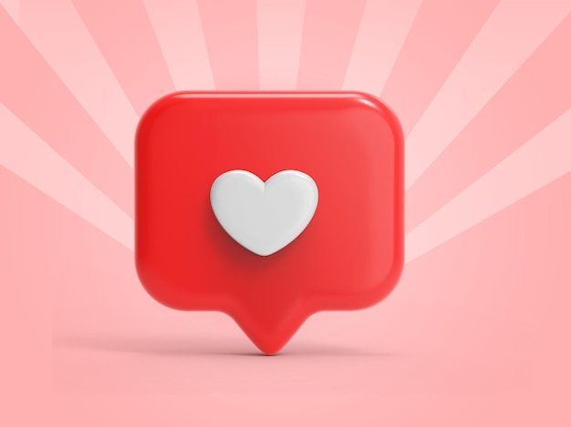3d like icon rendering for social media notifications
