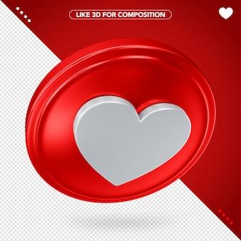 3d like icon Premium Psd