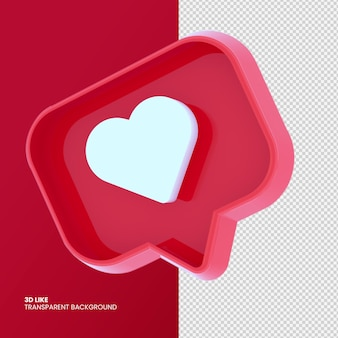 3d like instagram in 3d rendering design