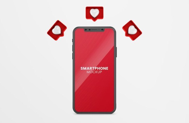 3d like notification render on black smartphone mockup