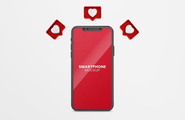 3d-рендеринг уведомлений на черном макете смартфона