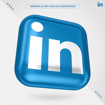 3d linkedin app rotated for composition