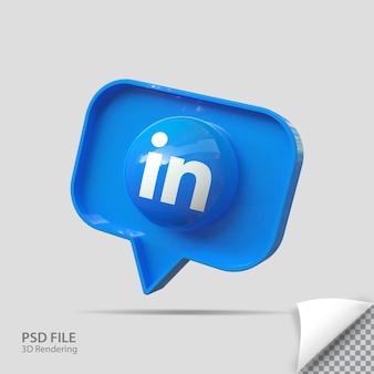 3d Linkedin 아이콘 렌더링 크리에이티브 프리미엄 PSD 파일