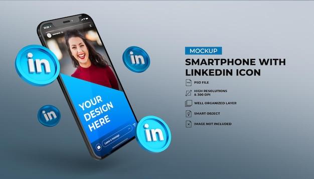 3d иконки социальных сетей linkedin с макетом мобильного экрана смартфона