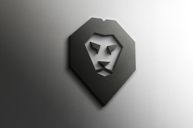 3d lion логотип макет