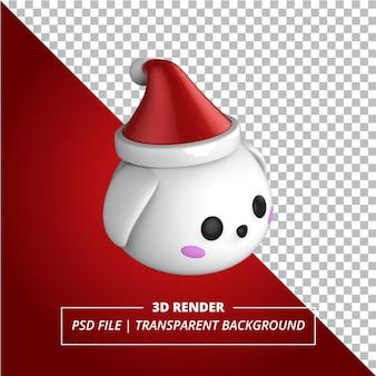 투명 한 배경에 3d 작은 토끼 크리스마스 모자