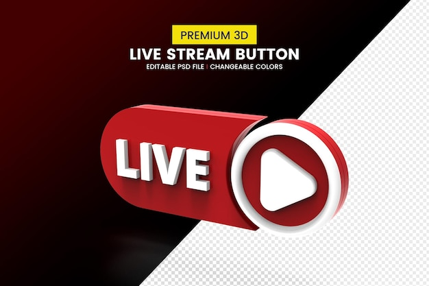 3d live button isolated design Premium Psd
