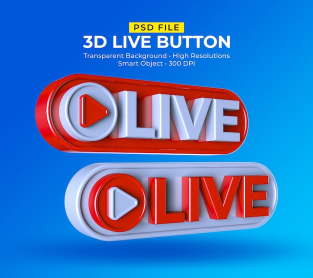 3d live button social media live streaming post