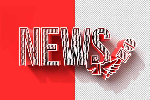 3d-шаблон новостей в прямом эфире с микрофоном. концепция журналистики, прозрачный файл psd.