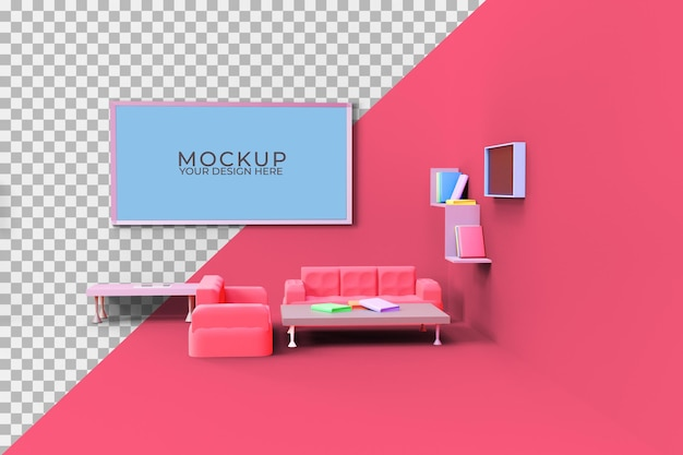3dリビングルームデザインモックアップ
