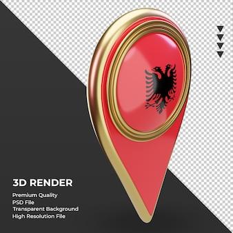 3d 위치 핀 알바니아 플래그 렌더링 왼쪽 보기