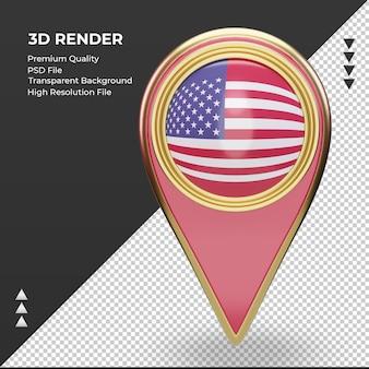 3dロケーションピンアメリカ国旗レンダリング正面図