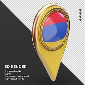 3dロケーションピンアルメニアの旗のレンダリング左側面図