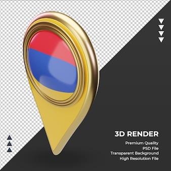3dロケーションピンアルメニアの旗のレンダリング右側面図