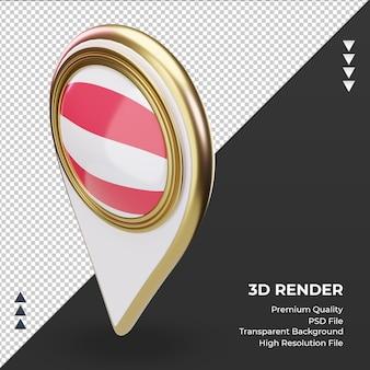 3d 위치 핀 오스트리아 플래그 렌더링 오른쪽 보기