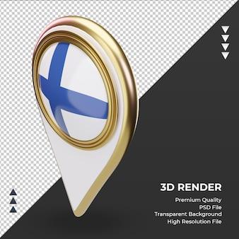 3d 위치 핀 핀란드 국기 렌더링 오른쪽 보기