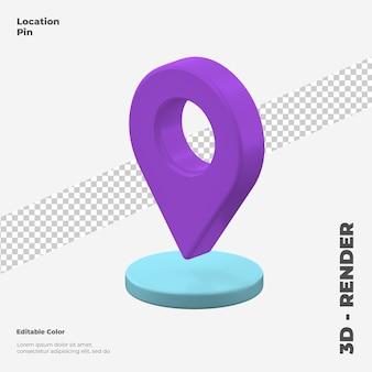 3d location pin icon mockup isolated