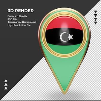 3dロケーションピンリビアの旗のレンダリング正面図