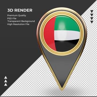3d расположение булавки флаг объединенных арабских эмиратов рендеринга вид спереди