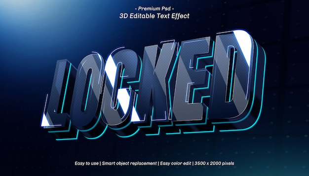 3d locked editable text effect