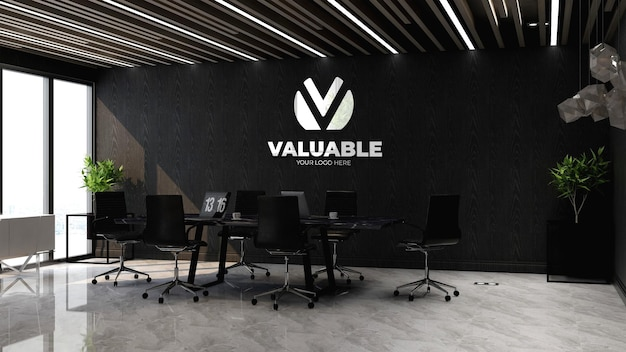 3d logo branding mockup in the office meeting space with laptop on table