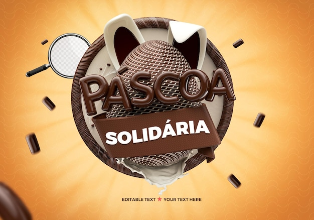 3d logo of easter solidarity in brazil with chocolate egg and rabbit for composition