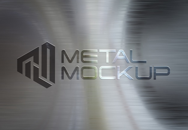 3d logo on metal brushed plate mockup