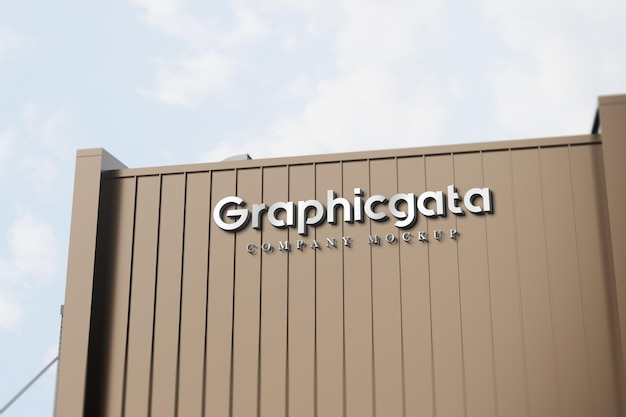 3d logo mockup on building. sigboard