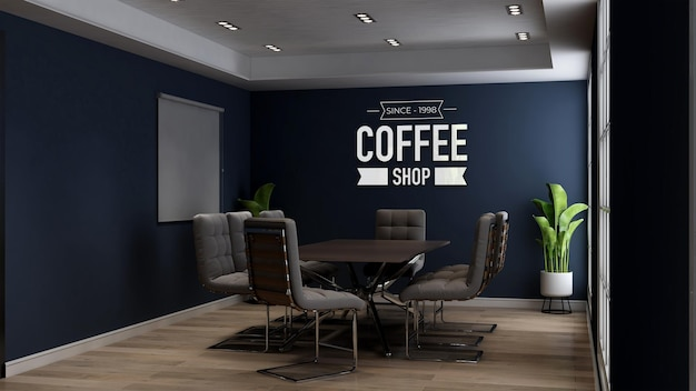 3d logo mockup in the cafe or coffee shop meeting room