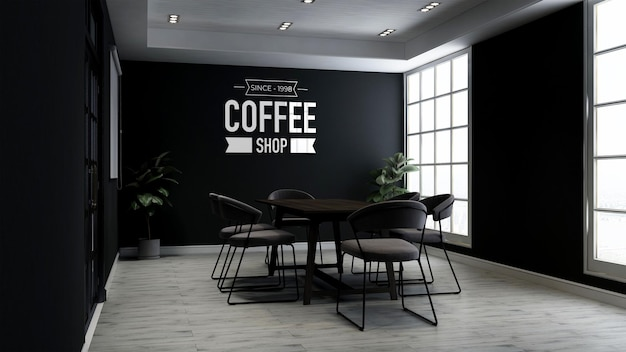 3d logo mockup in the cafe meeting room