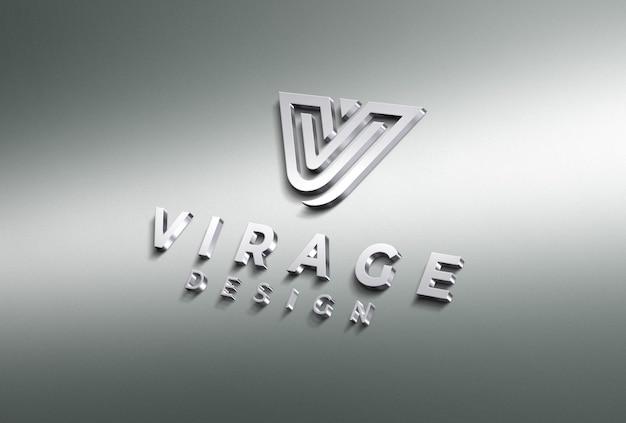 3d-макет логотипа chrome logo
