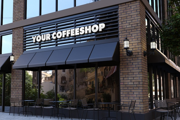 3d logo mockup on coffee shop facade sign