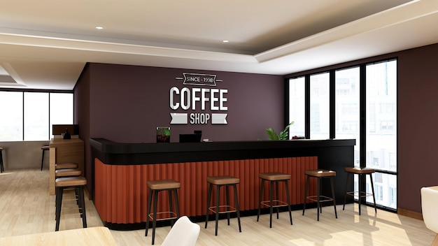 3d logo mockup in coffee shop or restaurant with modern interior design