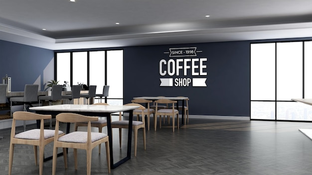 3d logo mockup in the coffee shop with wooden table and blue wall