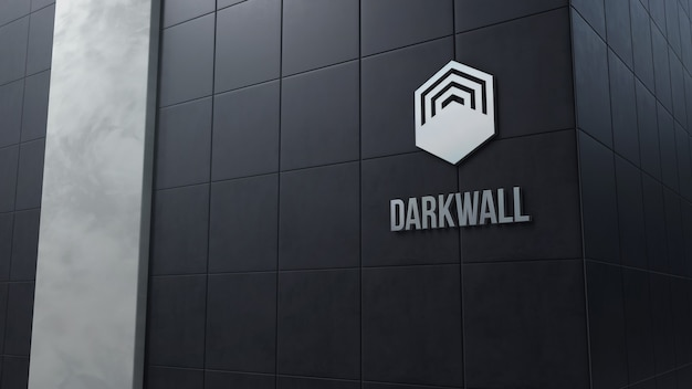 3d logo mockup on a dark wall with tiles