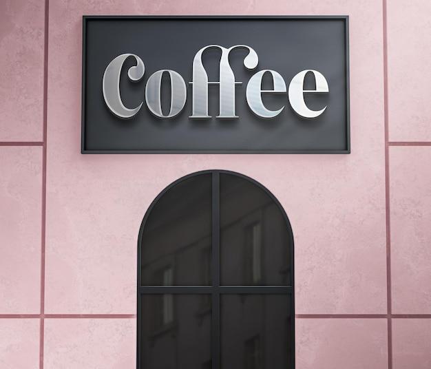 3d logo mockup facade chrome sign on modern store 3d render