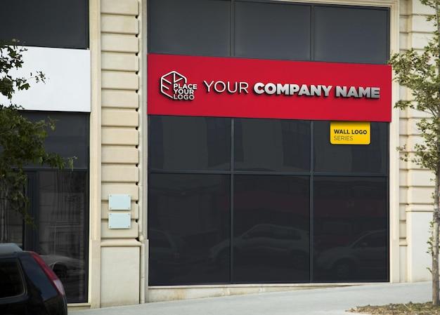 3d logo mockup facade chrome sign