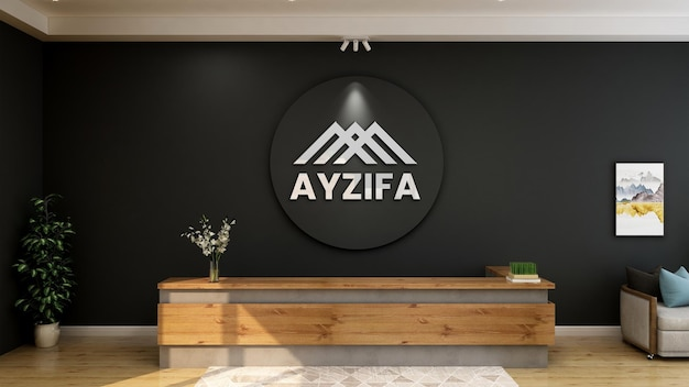 3d logo mockup on front desk with black wall