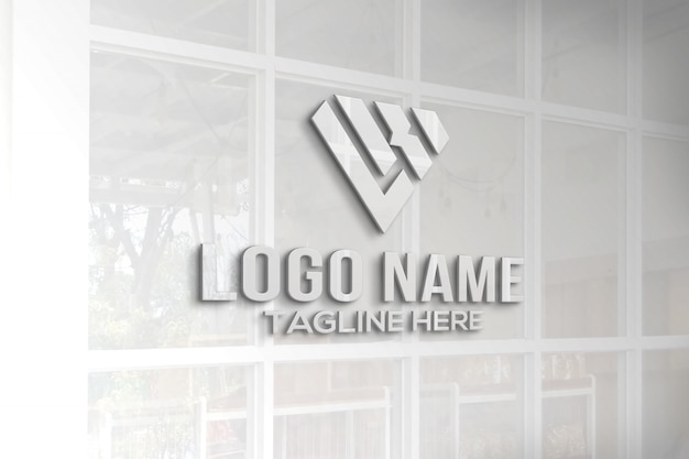 3d logo mockup glass window