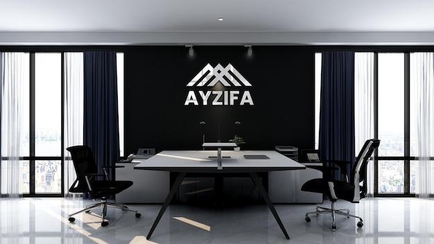 3d макет логотипа в элегантном рабочем пространстве