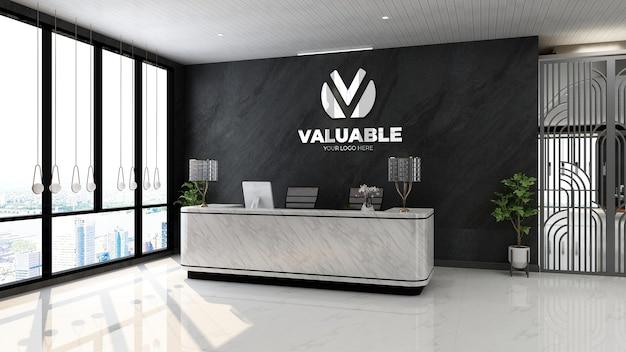 고급 사무실 현대 프론트 데스크 룸의 3d 로고 모형