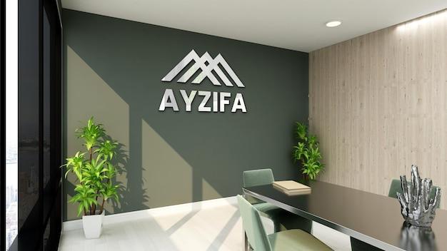 3d макет логотипа в конференц-зале с зеленой стеной