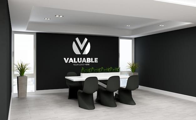 3d макет логотипа в минималистском конференц-зале